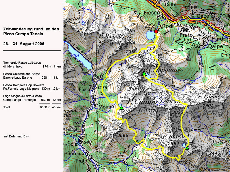 Karte der Zeltwandertour Pizzo Campo Tencia